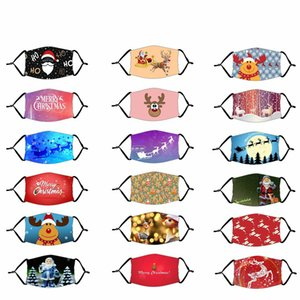 Adult Kids Christmas Party Mask with Filter Protective Mouth Cover Adjustable Ear Loop Washable Reusable Cartoon Face Masks Free DHL LQQ127