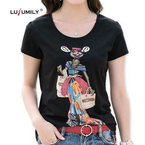 Lusumily Cartoon-Känguru-T-Shirts für Frauen Diamanten Pailletten Druck-Schwarz-Mädchen-T-Shirt Femme Baumwoll-T-Shirt Tops Street