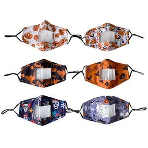 Halloween lábio máscaras Designer protecção facial para adultos com Máscaras Limpar janela visível Cotton Mouth cara reutilizável Máscara Facial EWB2303