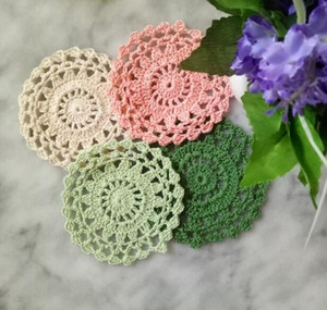 HOT Lace Round cotton table place mat dining pad Cloth crochet placemat cup mug tablecloth tea coaster handmade doily kitchen
