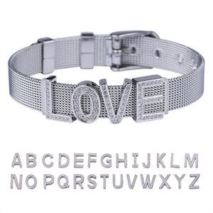Lucky Sonny Custom DIY Bracelet Letter Charm Pulsera Pulseira Hip Hop Bling Stainless Steel Watchband Bracelet Men Bracelets