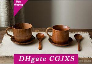 Retro Japan Holzhandgemachte Artifact Kaffee-Milch-Tee-Schalen-Wilde Jujube Griff Wasser Cups kreative Eco Friendly 9LN Bb