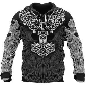 ملابس الرجال 2020 فايكنغ درع الوشم 3D جميع مطبوعة رجل / إمرأة المتناثرة أزياء مقنعين البلوز عارضة سترة الشتاء هوديي
