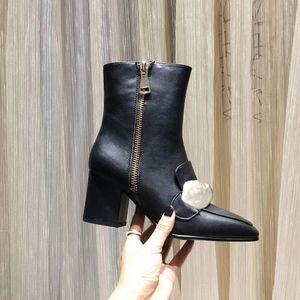 logo signore originali stivaletti 100% delle donne donne di lusso vacchetta Designer scarpe di cuoio tacchi alti stivali fibbie in metallo stivali di moda Martin