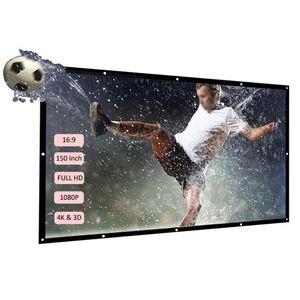 Projecteur docooler écran HD 16: 9 150inch Diagonal Projection vidéo Écran Pliable mural pour cinéma maison Films Bureau