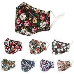 Gesichtsmasken Sonnenschutz einstellbar Ohr Schnalle Maske Gänseblümchendruck Designer Blume kann Filtermaske Blumentuch Art und Weise Baumwolle Maske setzen