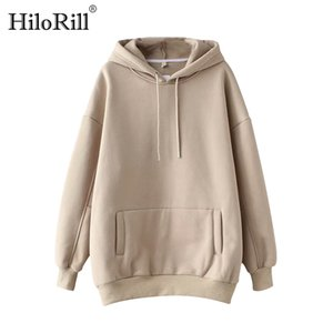 HiloRill Casual Sweat à capuche solide femmes poches Batwing manches longues Taille Plus Sweatshirts Automne Pull Hauts pur Sudaderas