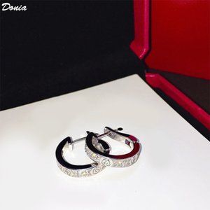 Donia jewelry fashion C-type micro zircon titanium steel three color European and American creative designer Earrings