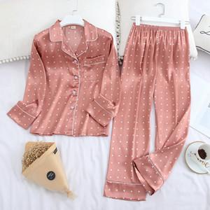 2020 New Ice Silk Satin Revers Frauen Pyjama Set Druck Mode Pyjamas Langarm Pyjamas Set Hohe Qualität