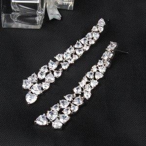 zircão diamante colorido em forma de coração por Mulheres fresca de verão estilo tropical longo de diamantes e brincos