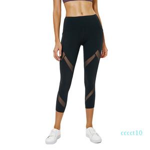 Women Mesh Panels Yoga Pants Naked-Feel High Waist Fitness Sport Cropped Leggings Squatproof Side Pocket Gym Crops Yoga Leggingct10