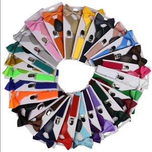 Enfants Ceinture Bowtie Set SOILD couleur pour enfants avec bretelles Bow Tie réglable Filles Garçons clip sur Y Retour Accolades Accessoires de mariage EWC2427