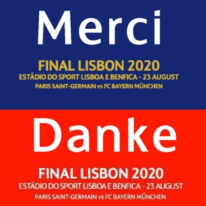 Finale de Lisbonne 2020 Détails du match Patch et Merci Danke Thank You Patch Heat Transfer de fer sur Badge de football