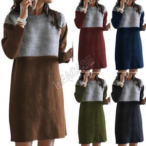 Mode Pull vêtements d'hiver les femmes Style épissé Jupe en vrac Grand col rond manches longues femmes robe 5 couleur Boutique S-3XL SALED82603