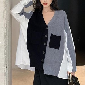 Womens sweaters spring autumn loose V neck stitching sweater cardigan jersey mujer pull femme nouveaute 2020 punk jumper female