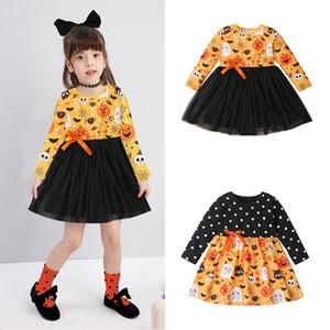 Хэллоуин Polka Dot печати платье с длинным рукавом платье принцессы девушки сетки Туту платья Призрак Bat Тыква Printed Бутик Детская одежда M2522