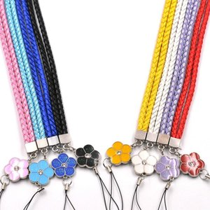 Universal Cell Phone Lanyard Weave Pu Straps Glitter Flower Strap For Iphone X Samsung Cell Phone Case Charms Accessories