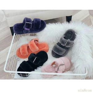 2020 Australia Nueva pelusa oh sí moda para esponjosa imitación diapositivas peludos invierno zapatilla de pelusa zapatillas visión de las mujeres ocasionales de piel sandalias 4FWZ #