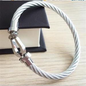 Novíssimo ferradura ímã fivela de aço fio pulseira de homens mulheres de aço de titânio Moda FRED ouro rosa crianças pulseira