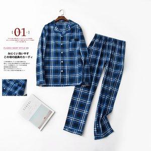 Autumnwinte Pamuk Erkek Pantolon kumaştan Pijama Ekose Pajama pijamalar Erkekler Boş Suits Fleece Pijama Uzun kollu