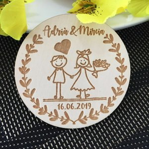 2020 New Customized Wedding Wood Favors, Save the Date Wood Magnets, Wedding Gifts for Guests Souvenirs Decoration