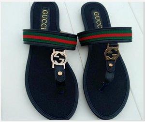 CON CAJA diseñador de lujo de las mujeres zapatillas de verano deslizamiento en los plana Diapositivas Playa Tanga zapatos femeninos MarcaLV chancletas de canal de moda las sandalias