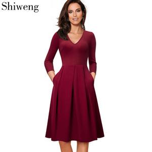 Shiweng 2020 casuale di nuovo modo dei vestiti di estate per le donne sexy del lavoro dottor Longo Vintage A126