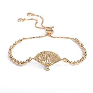 Bracelet,2020 new fan copper zirconia charm bracelet bangle femme Toggle-clasps snake chain jewelry accessories finding gift