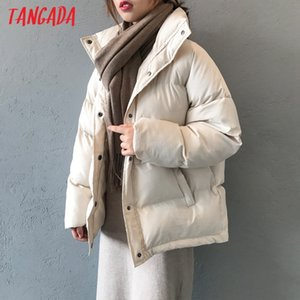 Tangada Women Solid White Oversize Parkas Buttons 2020 Winter Female Thick Black Warm Coat Overcoat ASF60 C0925