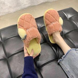 Plush Тапочки Женская зимняя Главная Пушистые Тапочки Крытый Хлопок Симпатичные Теплые ботинки Женщина Пары обувь Удобная Новая мода