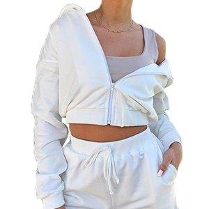 Женщины Летнего 2Pcs Эпикировка Бега с длинным рукавом Zipper Top высокой талии Спортивного костюма Повседневной осенью Спортивной одеждой