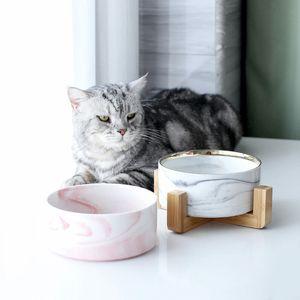 Criativa Pet Bowl Marbling Cat Dog Bowl madeira Alimentação Cerâmica Prateleira e Bebedouros para cães e gatos Pet Feeding Supplies Y200917
