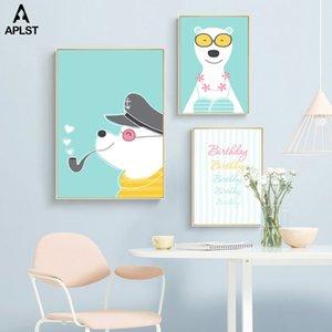 Compleanno regalo cool fumatori Puppy Dog Canvas Prints e poster animali della parete della pittura di illustrazioni per Baby Nursery Room Decoration