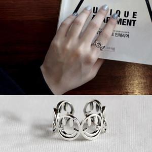 Корейский S925 стерлингового серебра с отверстиями сетки Открыть Antique Vintage смайлик кольцо мизинец кольцо