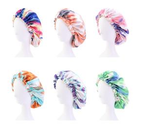 New Satin Silk Bonnet Schlaf Cap Große abbindgefärbten Nacht Kappe Doppelseite Verschleiß Dou Salon Bonnet Kopfhaar Abdeckungen Chemo Kappen für Frauen