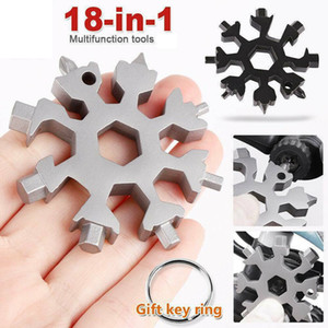 Portable Stainless Tool Snowflake Shape Key Chain Screwdriver 18 In 1 Multi Tool for Opener Key chain Bottle Opener Travel Camping