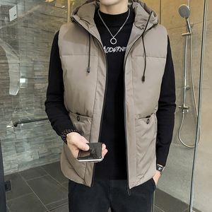7XL Vest Men Solid Winter Jacket Warm Men's Outerwear Waistcoat Casual Vests Hooded Jacket Man Sleeveless Jackets Plus Size