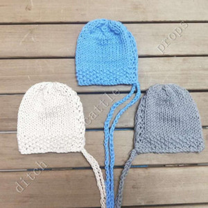 Thick hat, newborn photography props Handcraft Baby hand Knit Milk Cotton Thick Bonnet Baby Photography clothing