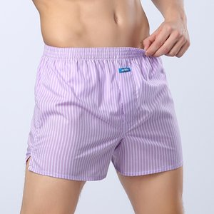 Femininos ekMlin Woven Boxers Shorts listrado manta fio penteado 100% algodão solto Macio e LJ200922 Confortável