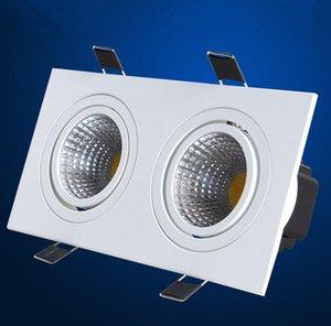 Alto Brilho Cob 2x10W Praça Duplo Dimmable Led Downlight AC85 -265v Chip Led teto Spot lâmpada quente / frio Iluminação Interior Branco
