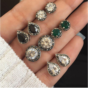 Mayforest New Vintage Boho Colorato Fiore Flower Stud Orecchini Set per le donne Antique Argento Colore Crystal Orecchini opale Set Girl Party Jewelry