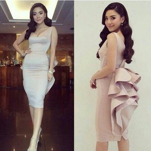 Sexy V Neck Sheath Cocktail Dresses Cheap Homecoming Dress 2018 Party Gown Summer Style Custom Made Prom Party Dresses