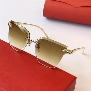 Лучшие продажи оптовые солнцезащитные очки 0130S кошачий глаз бескаркасных ретро авангардные очки дизайн леопарда головы стиль UV400 Защитные линзы