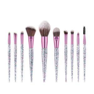 In Stock! Glitter Diamond Makeup Brushes Set 10 pcs Sequins Quicksand Crystal Makeup Brush Cosmetics Brushes Powder Eyeshadow Foundation