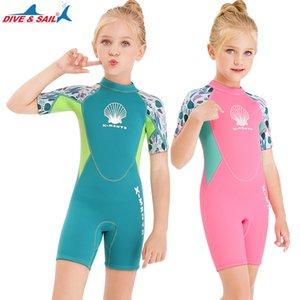 2.5mm Çocuklar Shorty Dalgıç, Kızlar Termal Neopren One Piece Döküntü Guard Mayo, Geri Scuba Diving için Islak Suit Zip, Yüzme, Sörf