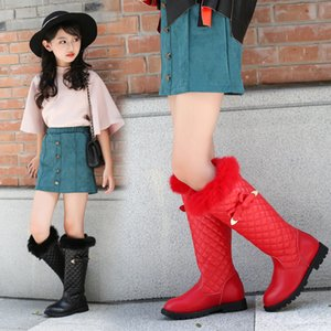 Kids Princess Knee-high Boots Genuine Leather Fur Designer Bow-knot Long Boots for Girls Teenagers Size 26-37 Winter Snow Shoes