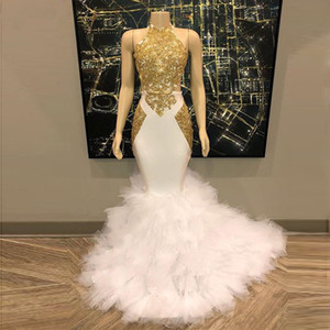 New Real Photo Mermaid Prom Dresses 2020 Long Gold Appliqued Halter Formal Evening Dress with Ruffled Tulle Skirt Turkey Party Gowns