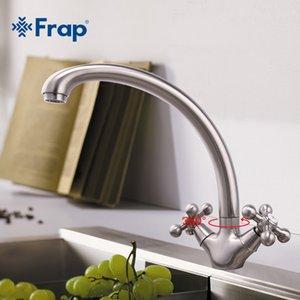 FRAP FRAP 1 Conjunto de la venta caliente níquel cepillado grifo de la cocina doble manija fría y caliente Mezclador F4219-5 T200423