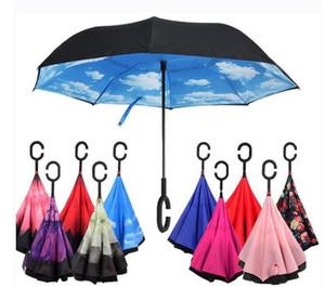 C-рукой обратные зонтики ветрозащитный обратный двойной слой перевернутый зонтик Внутренний стенд ветрозащитный зонт Бесплатная доставка быстрого моря DHD913