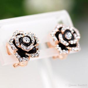 Fashion Enamel Earrings Without Piercing Ear Clip Jewelery For Women Flower Design Earing Bijoux with Swarovski Elements Crystal